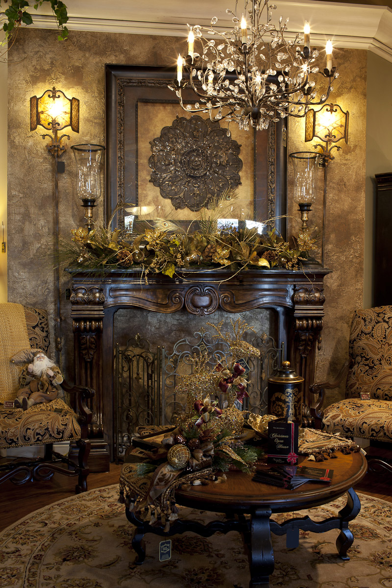 Decking the home office for christmas hooker furniture - Decorate living room with fireplace ...