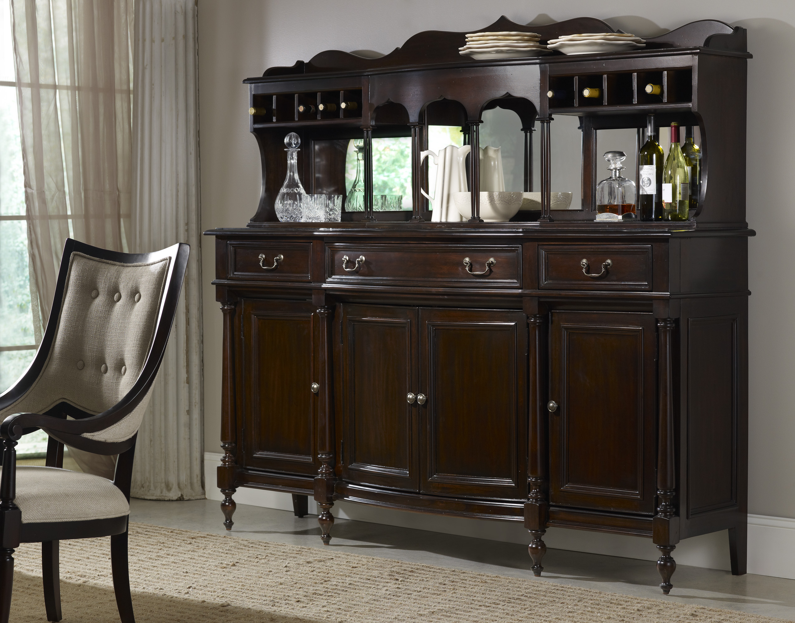 buffet for finish room and dark brown style dining ridgley hutch server contemporary