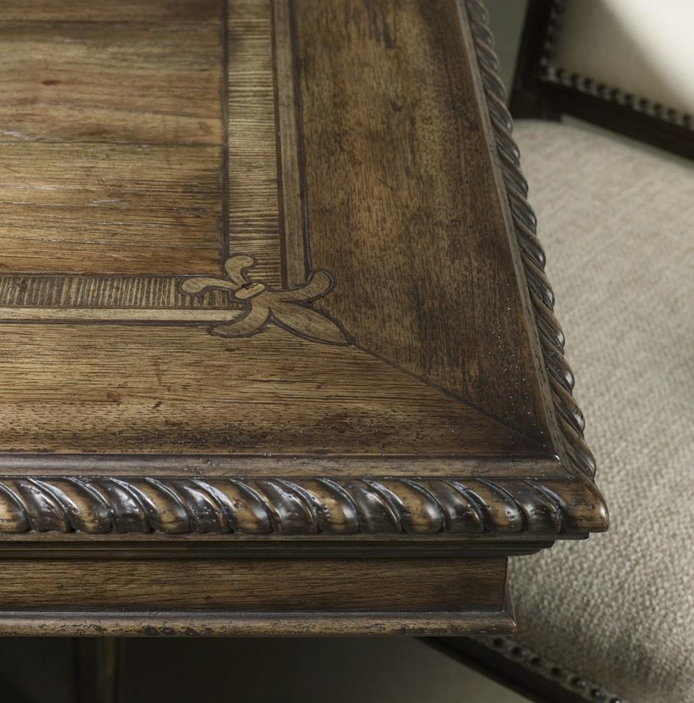 Fleur de lis & rope twist molding on dining table