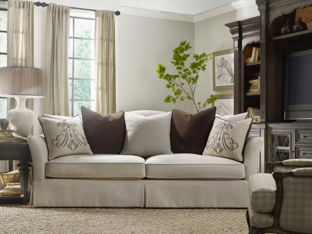 Rhapsody sofa with insignia pillows