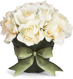 the perfect bedside bouquet-a ribboned pot of silk creamy roses