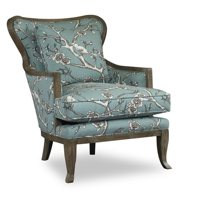 Bird motif fabric sings on Kenly Chair