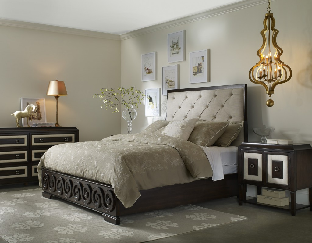 Albion tufted bed and bedside furniture