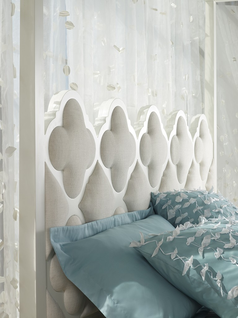 Upholstered fretwork in quatrefoil pattern