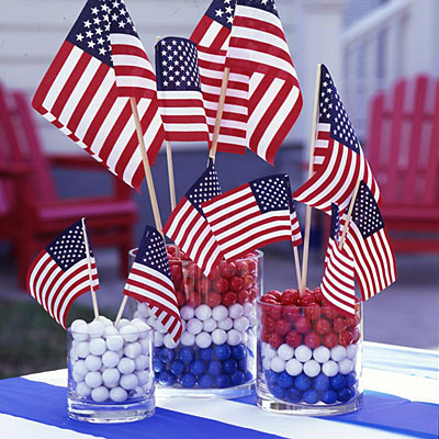 A simple centerpiece of colorful gumballs in vases can make a bold and patriotic statement.