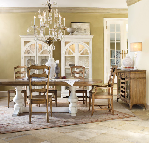Chic Coterie dining with ladderback chairs
