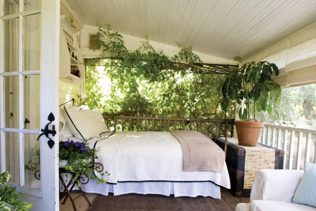 bed on porch