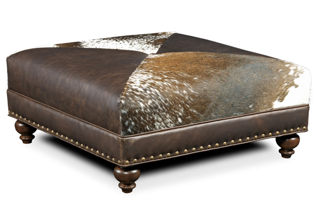 Let your favorite ranch come to you with a genuine cowhide ottoman.