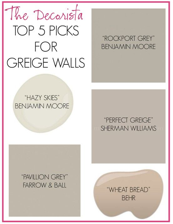 Decorista's top 5 greige wall picks