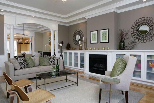 "Neutral paint shades (such as ""Storm"" from Benjamin Moore) provide the perfect backdrop to a room."