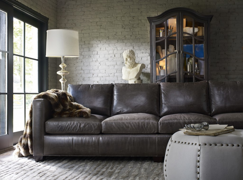 Camden sofa's soft, antiqued leather is welcoming