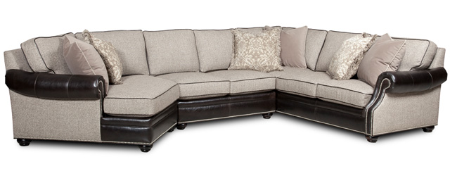 Bradington Young's Warner sectional combines the softness of fabric with the stylish detailing of leather.