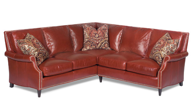 The Tappan leather sofa from Bradington Young combines the luxury of leather and bold, colorful styling.]