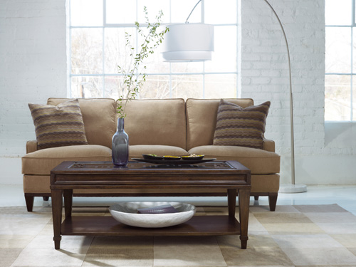 Neutral yet not boring, Hooker's Ludlow sofa is inviting in a camel-colored upholstery fabric.