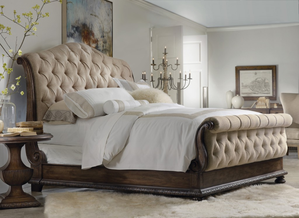 An upholstered sleigh bed may be most comforting of all bed types