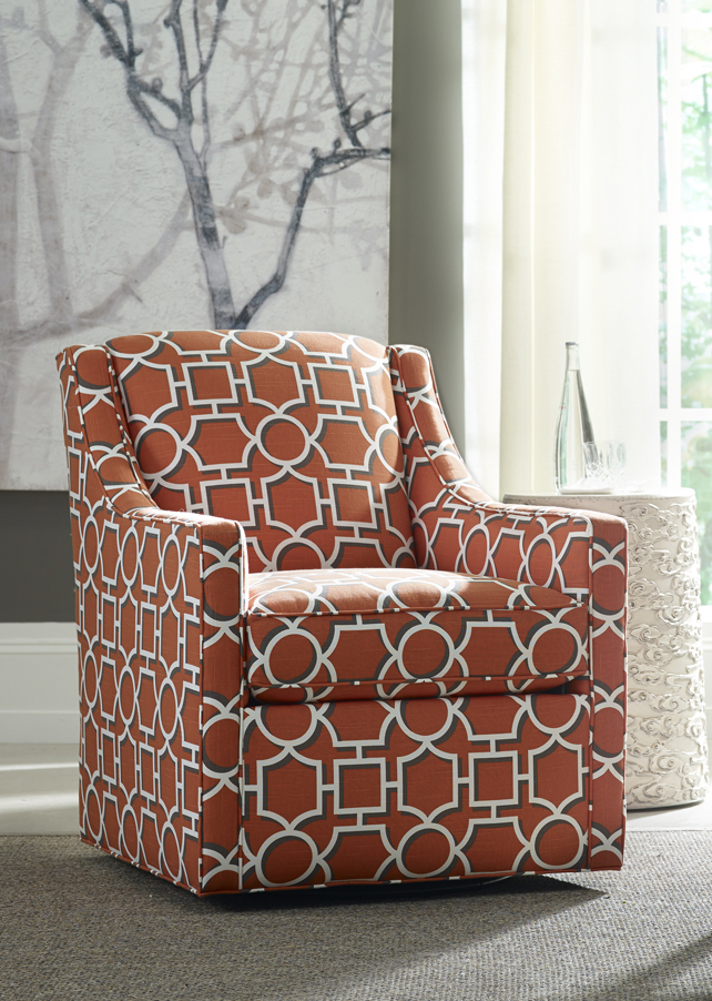Darya swivel chair combines orange, geometric pattern