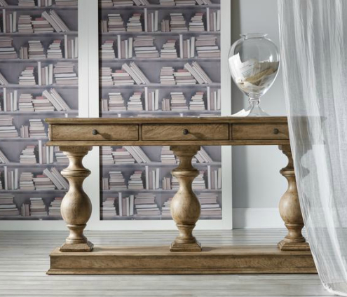 The Melange Three Pedestal console is sized right for lots of places--in a narrow hall, behind the sofa or in a small dining room as a buffet.