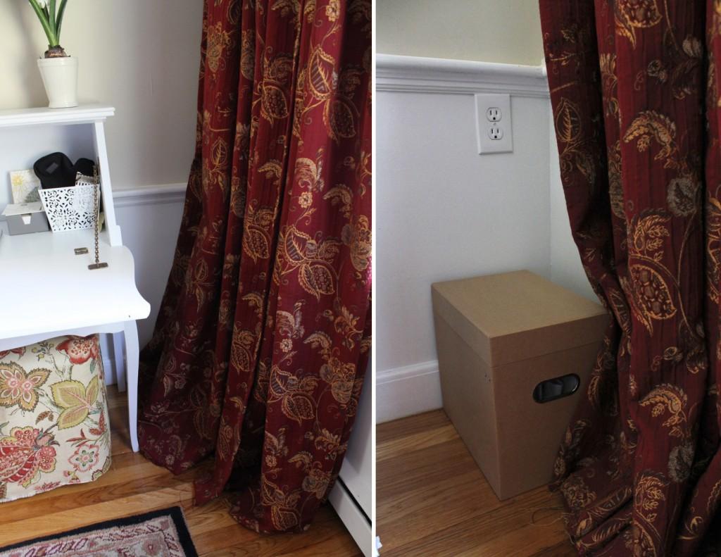 File box hides 'under radar' on floor behind curtain