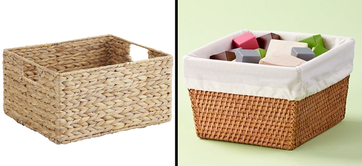 Baskets are a great way to hold smaller items that you may still want to store on bookcases in your home.