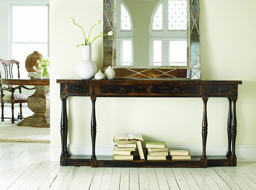 Thin console perfect for entry foyers