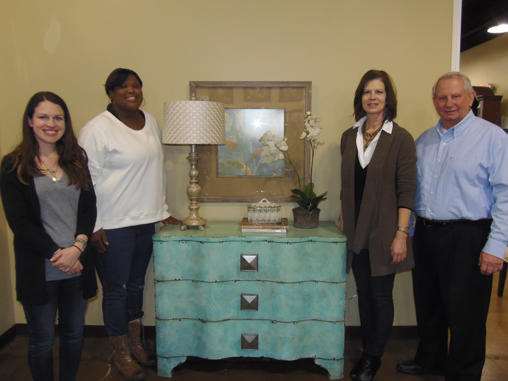 From left to right: Nicole Mitchell, Fabrics & Furnishings; Krys; Lisa Ward, Fabrics & Furnishings and Henry Fitzgerald, Hooker Furniture.