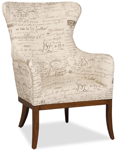 Wing chair with document fabric adds warmth