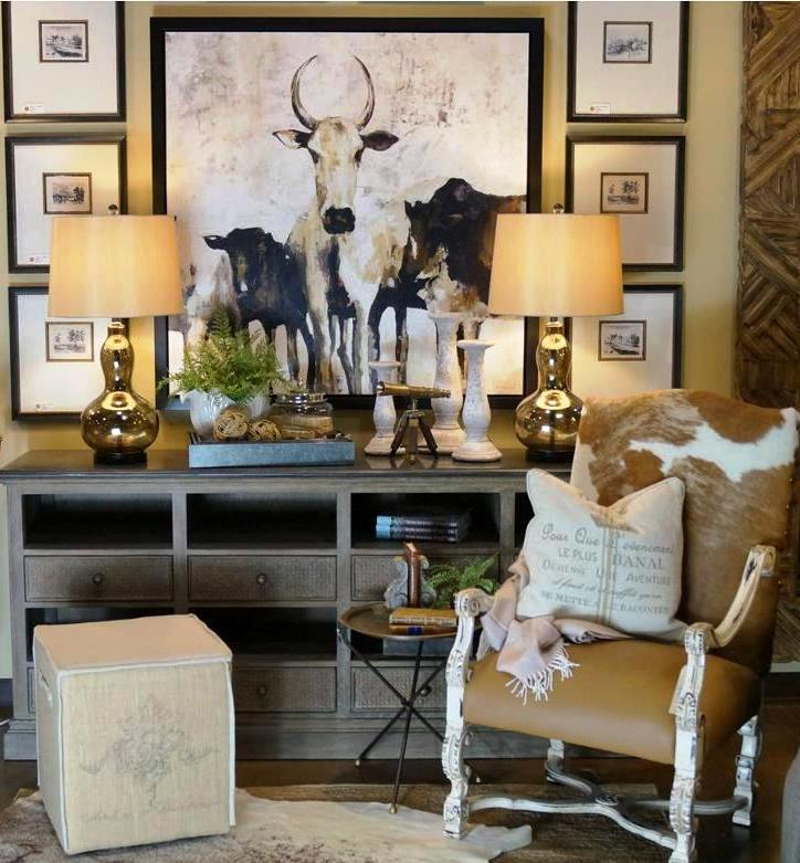 A rustic western setting is brought to life by Fabrics & Furnishings