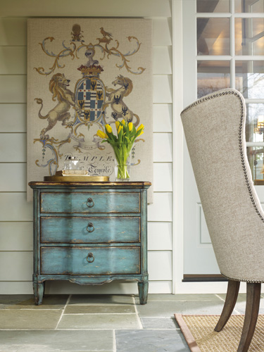 A small furniture accent can give needed splash of color.
