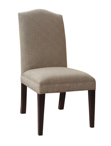 Upholstered side chairs make dining cozy