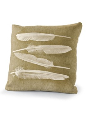 Feather motif pillow is silk-screened on organic hemp