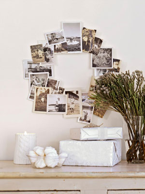 A photo wreath like this can warm heart & home