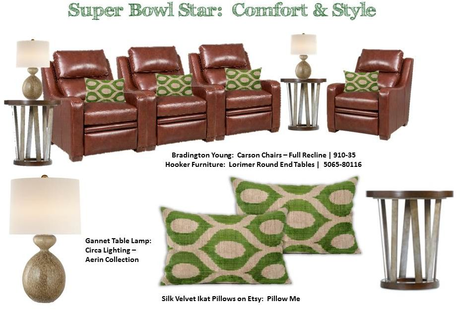 Comfort & Style Co-Exist in this room of reclining chairs & contemporary lamp tables.