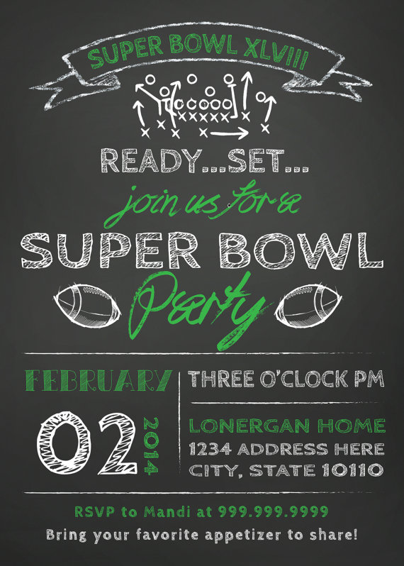 Hosting a Super Bowl Party?  What a fun invitation template from SL Design Team on Etsy!  It can be created it in any team color.