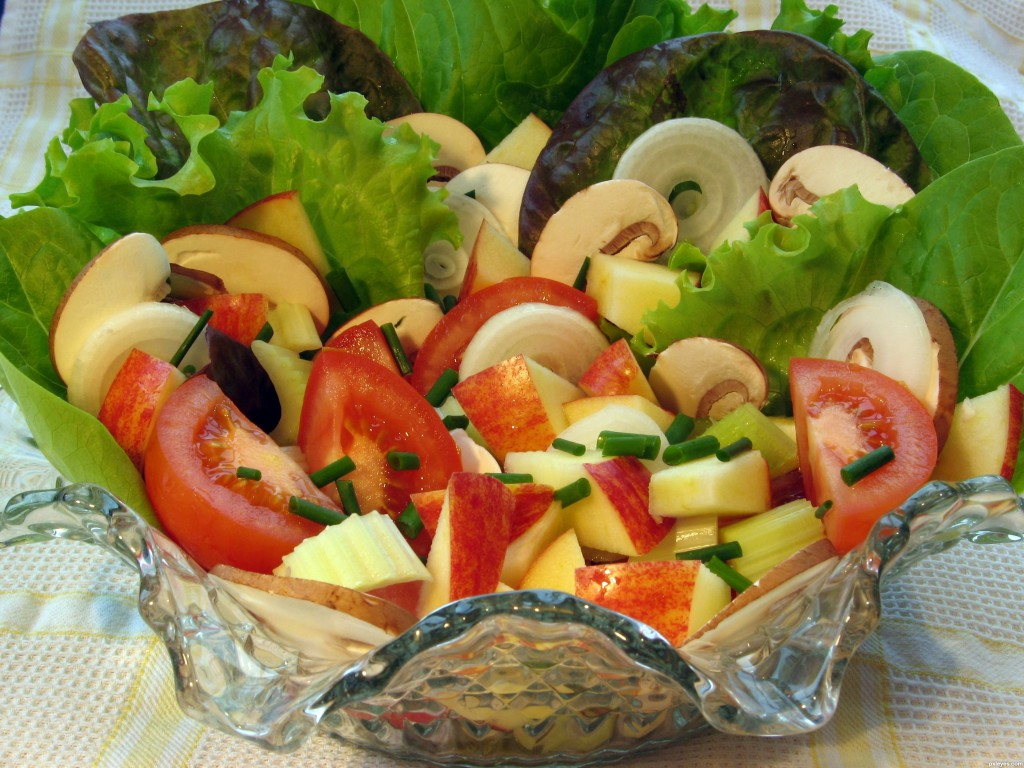 Green salads with fresh fruit & veggies add color & flavor to winter.