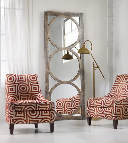 Mirrors add dazzle to red & white scheme