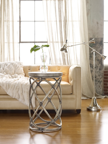 Rattan Accent Table Gives Sparkly Glam