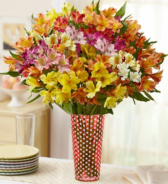 Alstroemeria (Peruvian) lilies are inexpensive but exotic looking. These are from 1-800-flowers but they're also sold by the bunch in the grocery store.