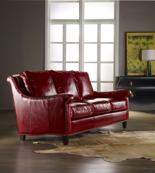 Bradington-Young red leather sofa