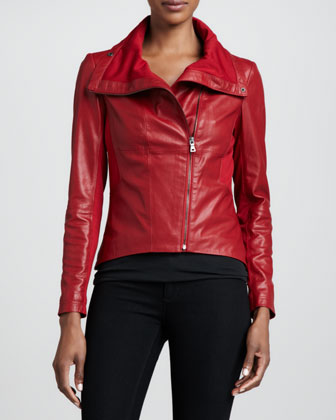 Hot red leather jacket is chic & cuts the chill too