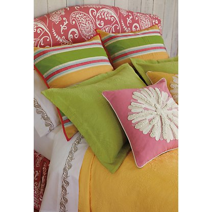 "Bring some spring to your bedroom! Colorful garden hues come alive in ""Asters"" accent pillow and coordinated bedding from Company C."