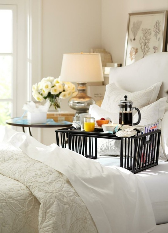Go on a retreat without leaving home with breakfast in bed. Image credit – Via