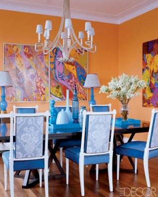 Pop goes the color in this uptown dining room. Credit: Simon Upton, ElleDecor.com