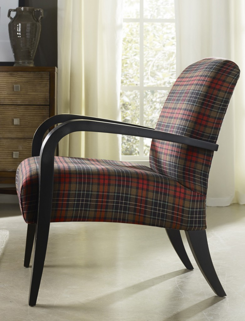 Tartan plaid, such as in this new Sam Moore chair, is coming on strong.