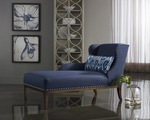 The Cosette chaise is dressed in a cool denim colored fabric.