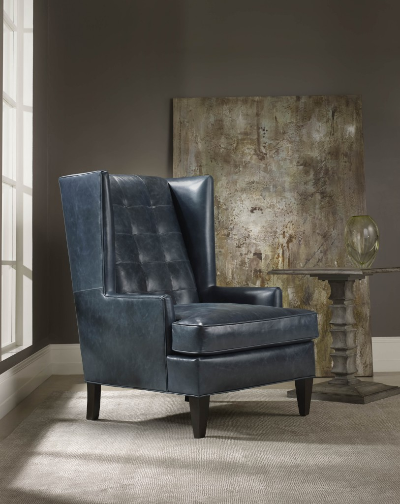 Bradington-Young Zadie wing chair has Mid-Century flavor
