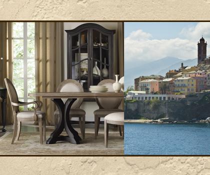 Corsica pedestal table mixes rustic, classic influences