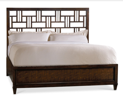 Although fretwork dates back centuries, this bed shows how contemporary such interlaced decorative woodwork can look.