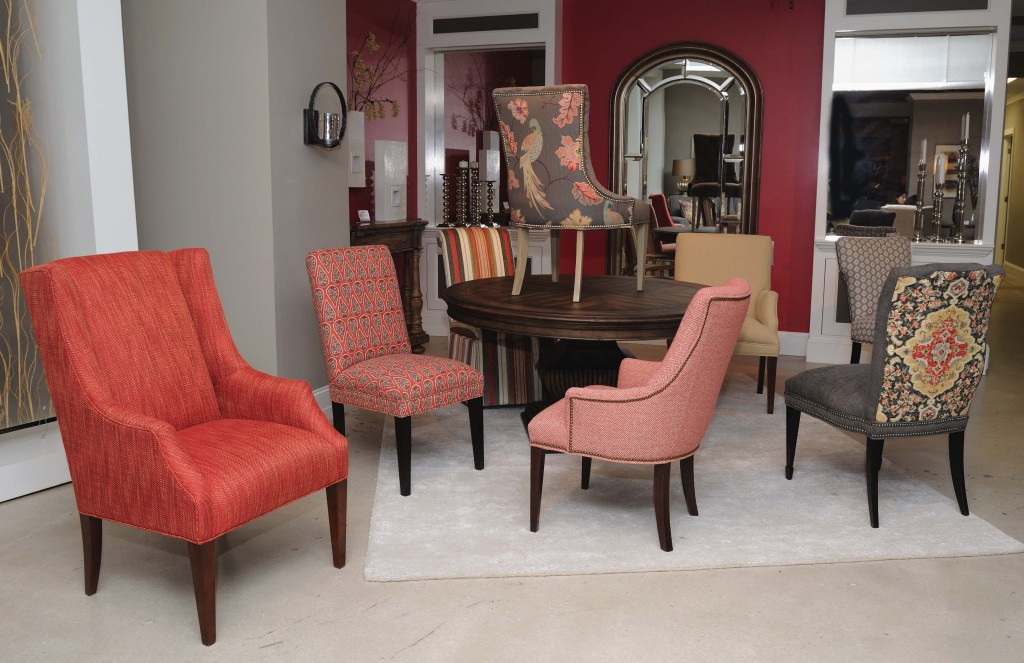 Beau Coral Adds Energy U0026 Warmth To A Sam Moore Dining Chair Display
