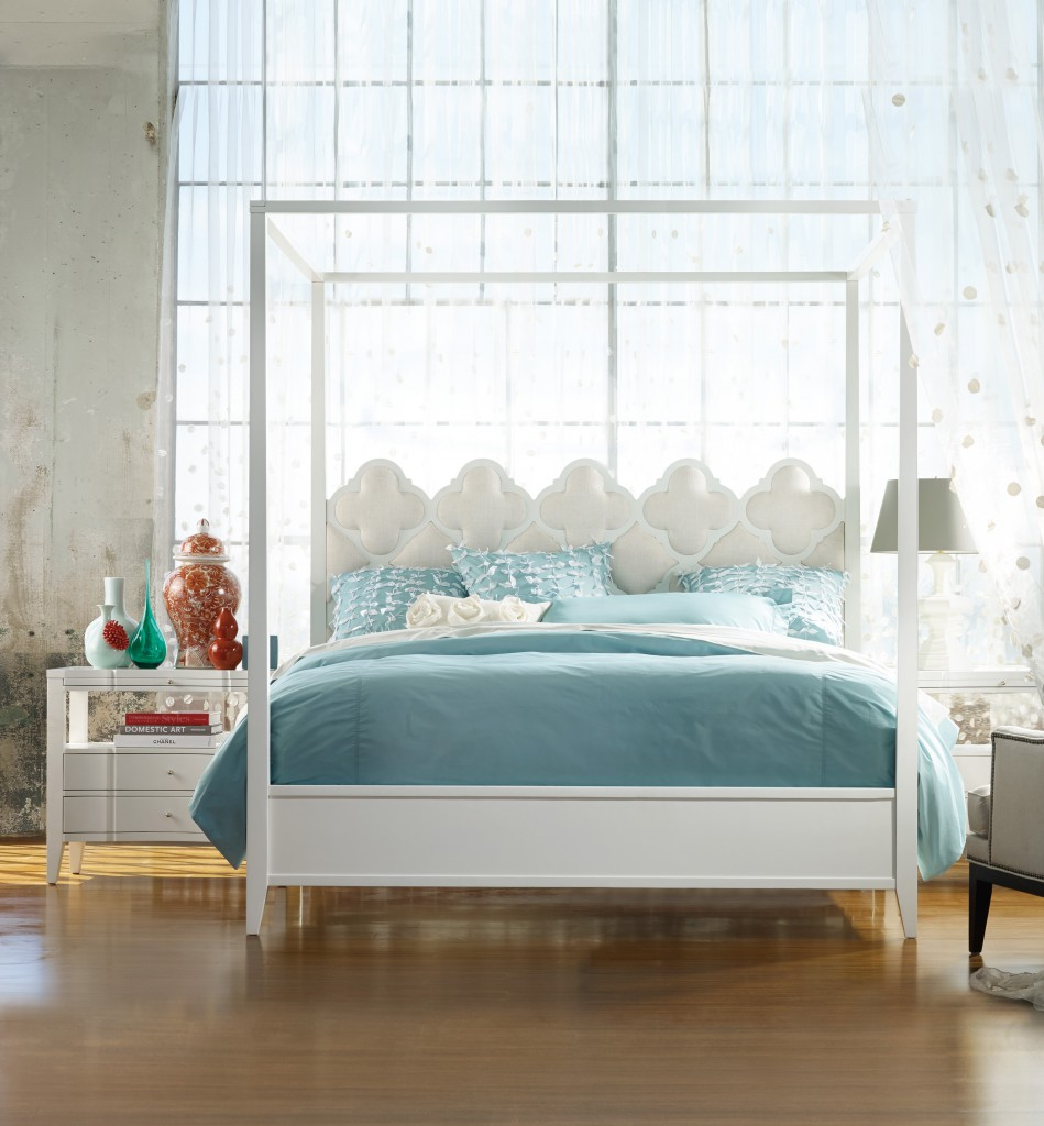 Details of Quatrefoil bed provide layering options