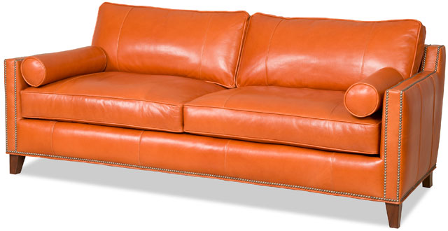 The Davlin Sofa From Bradington Young Is Shown In A Bold, Fun Orange Leather .